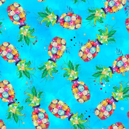 Turquoise Pineapples Digital