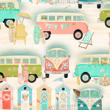 17332-SND Beach Travel / Vintage Bus - Sand