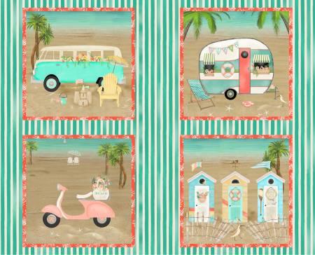 Multi Beach Travel 34in Panel, 15in x 15in squares