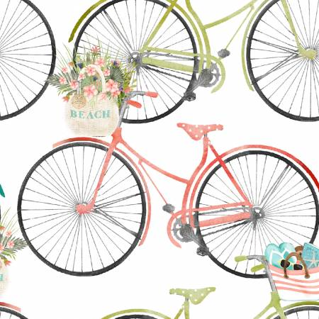 Beach Travel - Bicycles - By Beth Albert For 3 Wishes Fabric