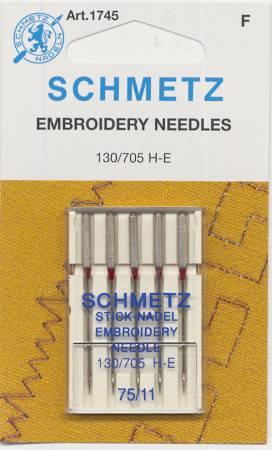 #1745 Schmetz Machine Needle Embroidery 5 Pk Sz 75/11