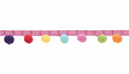 1-1/8in Rainbow Pom Pom Fringe