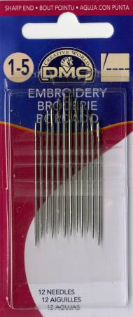 DMC Embroidery / Crewel Needles Size 1/5