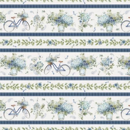 Bohemian Blue by Lisa Audit for Wilmington Prints-17752-174- Multi Bohemian Blue Repeating Stripe