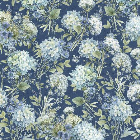 Bohemian Blue by Lisa Audit for Wilmington Prints- 17753-474-Blue Packed Floral