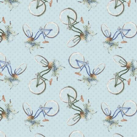 Bohemian Blue by Lisa Audit for Wilmington Prints- 17755-424-Blue Bike Toss