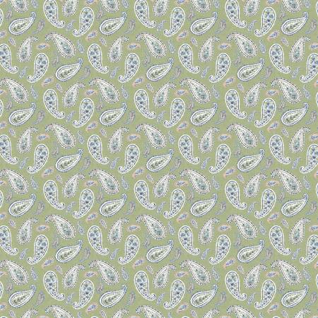 Bohemian Blue by Lisa Audit for Wilmington Prints- 17757-714- Green Small Paisley