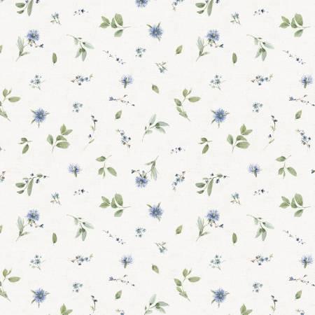 Bohemian Blue Small Floral Toss Cream