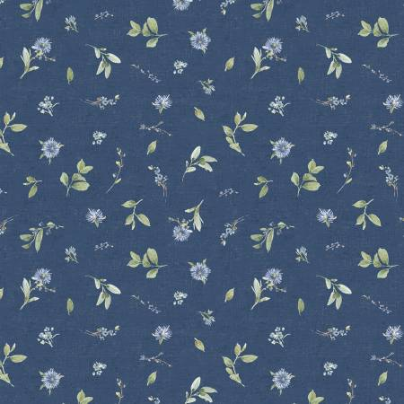 Bohemian Blue by Lisa Audit for Wilmington Prints- 17758-474- Blue Small Floral Toss