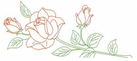 1800 134 Long Stemmed Rose Lace Edge Pillowcase