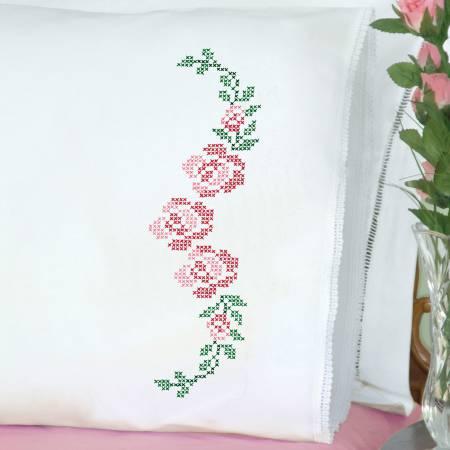 1800 477 Xx Rose Vine Lace Edge Pillowcase