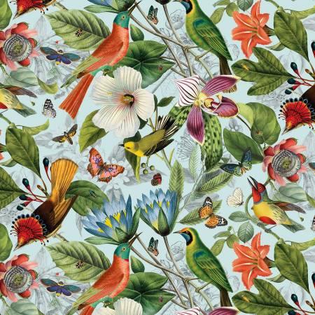 Blue Large Floral & Birds