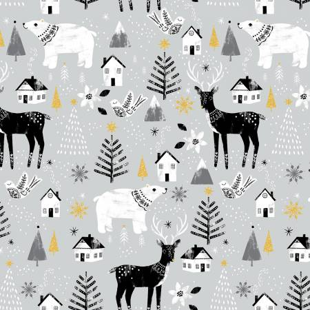 3 Wishes Peace on Earth 18091-GRY Gray Peac Animals Glitter