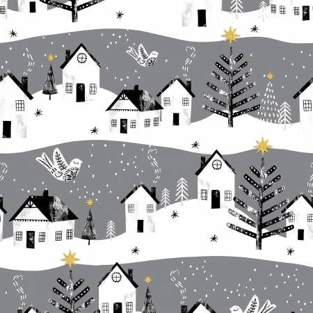 3 Wishes Peace on Earth 18094-GRY Gray Peac Village Glitter