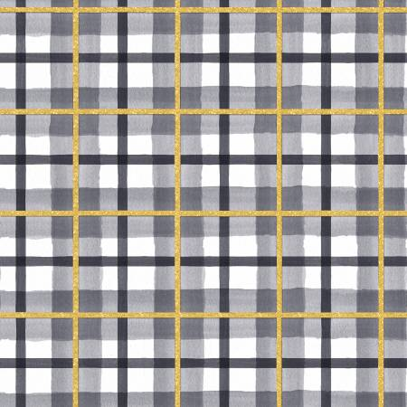 3 Wishes Peace on Earth 18095-GRY Gray Peac Plaid Glitter