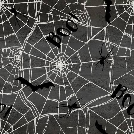 3 Wishes Spooky Night 18112-CHR Charcoal Spnt Webs