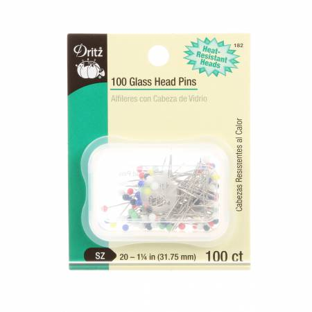Glass Head Pins Size 20 1-1/4in 100ct