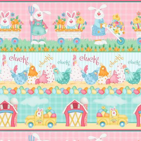 Gardening Bunnies and Chickens Border Stripe:  Down on the Bunny Farm by Shelly Comiskey for Henry Glass