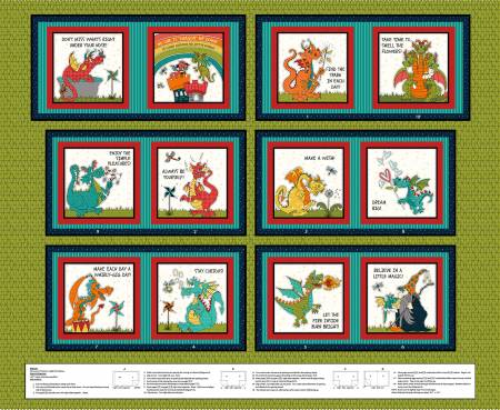 HG Whirlygig Magic Green Dragon Book Panel