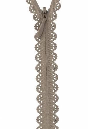 Zipper Lace 40cm, 19mm wide, taupe