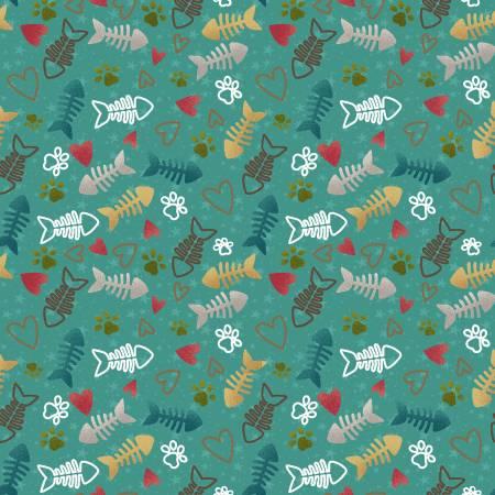 Teal Fish Bone & Heart