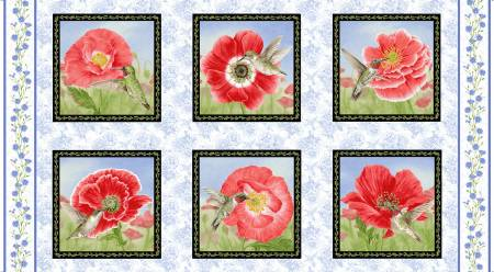 Red Poppy Blocks Panel
