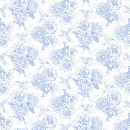 SPECIALTY FABRICS: Blue Poppies and Hummingbirds on White :  Poppy Meadows by Jane Shasky for Henry Glass & Co.
