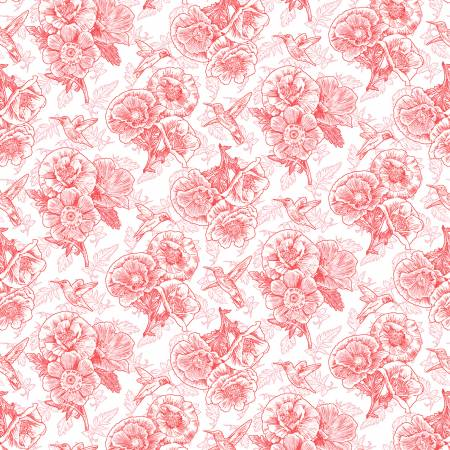 SPECIALTY FABRICS: Coral Pink Poppies and Hummingbirds on White :  Poppy Meadows by Jane Shasky for Henry Glass & Co.