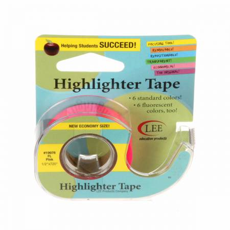 Removable Highlighter Tape 1/2in x 393 Fluorescent Pink *