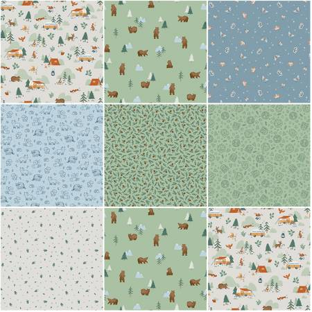 Camp Woodland 1 Yard Bundle Off White, 8 Pcs.
