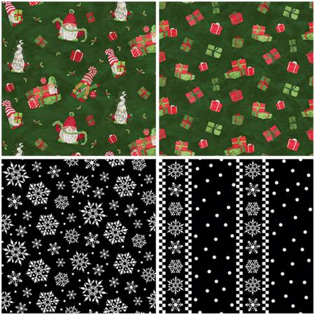 Gnome For Christmas Flannel 5- 1yd Cuts Green/Black by Tara Red