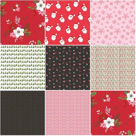 Holly Holiday 1 Yard Bundle Red, 8 Pcs.