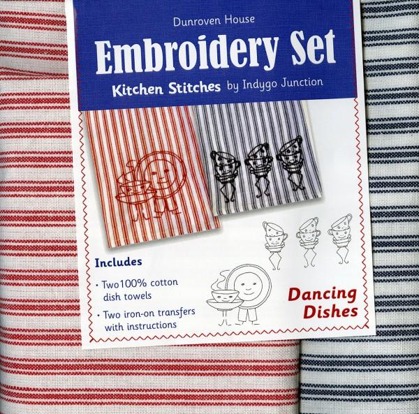 Towel Embroidery Set 2 Dancing Tea Cup