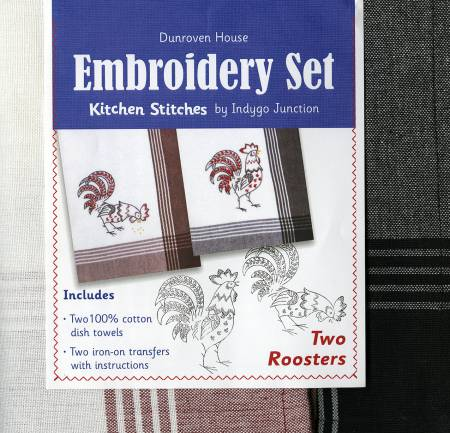 Towel Embroidery Set of 2 Roosters