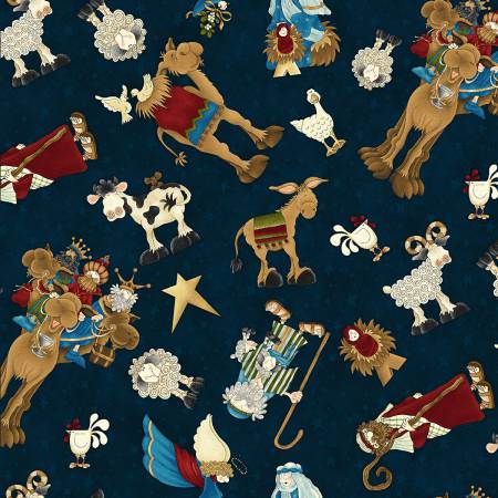 Away in the Manger Navy Tossed Characters