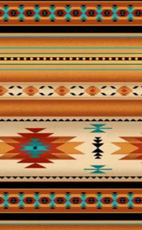Gold Indian Blanket Stripe 100% Cotton 42-44 Wide