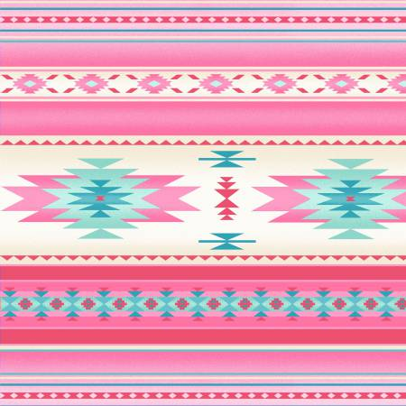 Tucson Soft Pink Indian Blanket Stripe 100% Cotton 42-44 Wide