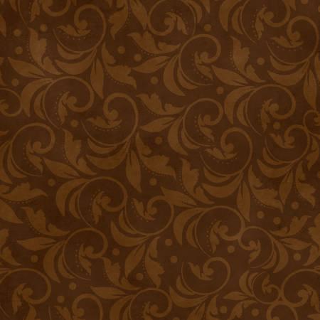 Vintage Scroll 108in Wide Back - Brown