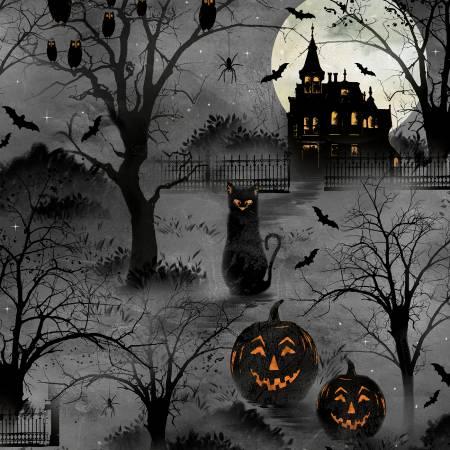 20504-998 Frightful Night Black Halloween Scenic (21G)