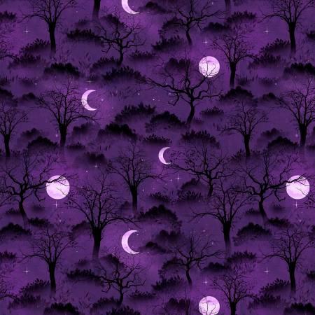 Frightful Night Purple Halloween Trees & Moons