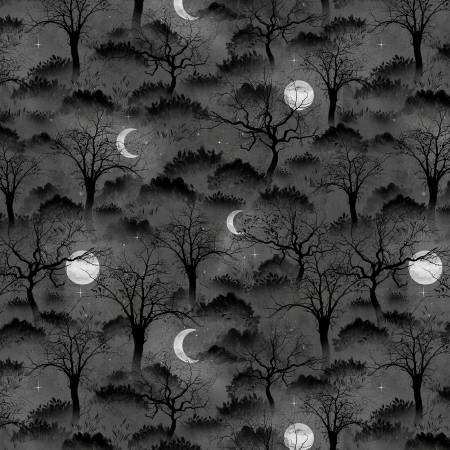 Black Halloween Trees & Moons - Frightful by Wilmington Prints