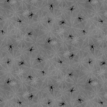 Frightful Night - Wilmington Prints - Charcoal Spiderwebs