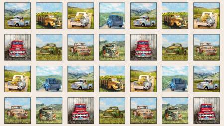 Elizabeth's Studio - Cream Vintage Trucks/Panel - 21000E-CRM