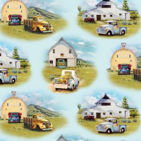 Blue Vintage Trucks Scenic (F10553)