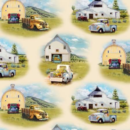Cream Vintage Trucks Scenic