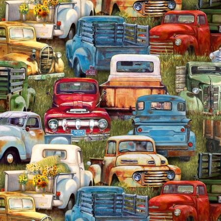 Green Vintage Trucks Packed