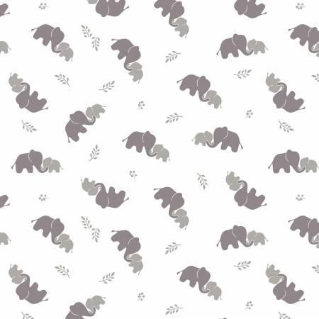 Grey Elephants Bambino Fabric Double Gauze