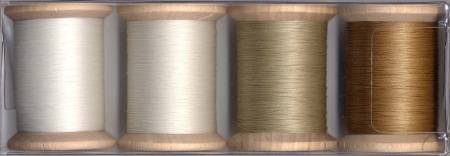 Cotton Quilting Thread Sampler 3-ply T-40 400yds White/Natural/Ecru/Light Brown