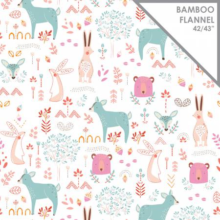 Forest Friends Bamboo Flannel 21172405H Peony