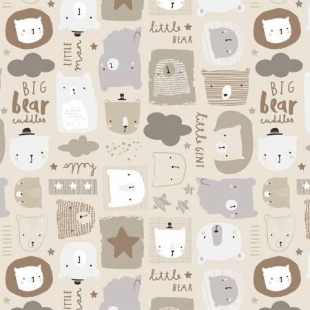 Cream Big Bear Cuddles Flannel